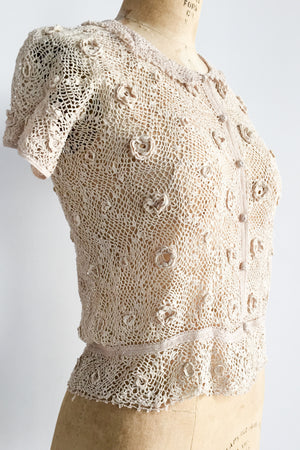 1950s Irish Crochet Lace Top - XS/S