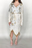 1980s Silk Beaded Dress with Gold and Silver Beading - M/L