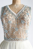1960s Silk Chiffon Sheer Beaded Top Dress - S
