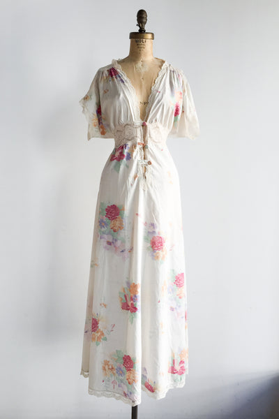 1970s Rayon Floral Print Lace Trimmed Dress - M/L