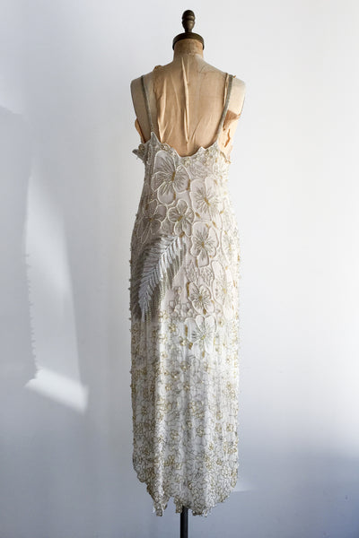 1980s Silk Beaded Hi-Low Flapper-Inspired Dress - M/L