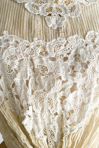 Antique Victorian Pintucked Voile and Embroidered Lace Top - XS/S