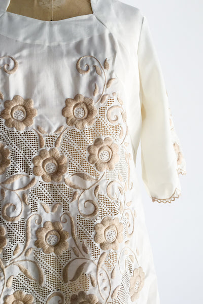 1970s Embroidered Cotton Shift Dress - M