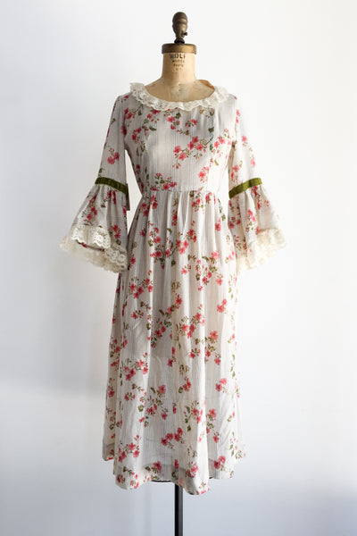 1970s Cotton Bell Sleeves Dress - S/M