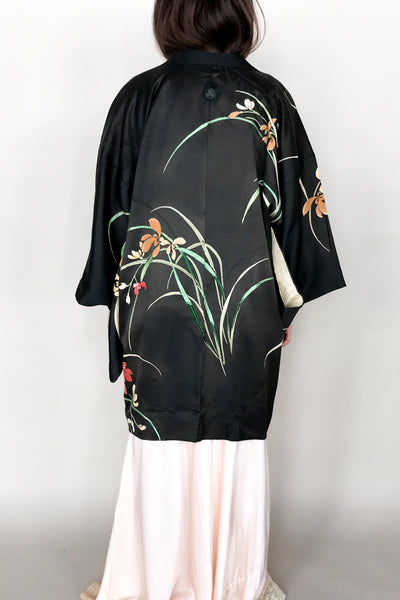 Vintage Black Silk Satin Short Kimono with Embroidery - One Size