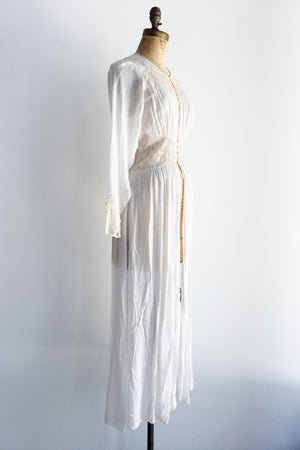 1930s Chiffon and Lace Dressing Robe - S/M