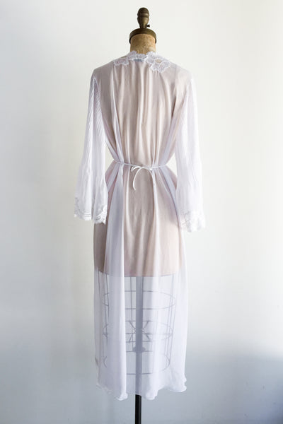 1980s White Chiffon Dressing Gown - M