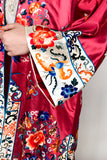 Vintage Ruby Silk Embroidered Robe - M