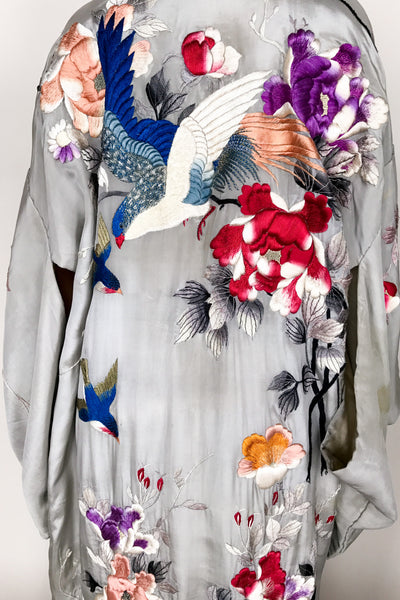 Antique Gray Silk Embroidered Kimono