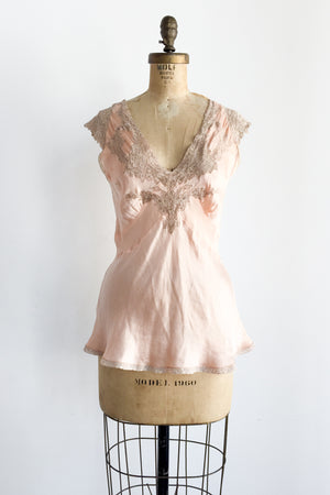 1920s Peach Silk and Lace Top - S