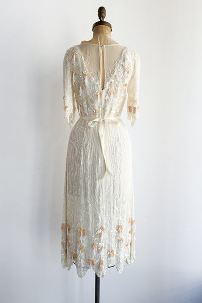 1980s Silk Beaded Tassel Dress - M
