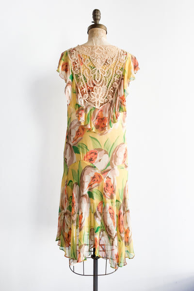 1920s Vibrant Floral Print Chiffon Dress with Crochet Lace - S