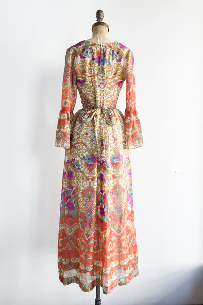 1970s Red Floral Print Chiffon Dress - S