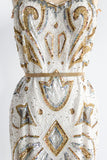 1980s Gold and Silver Geometric Dress - M/L