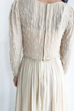 1960s Ivory Beaded Silk Chiffon Dress - S