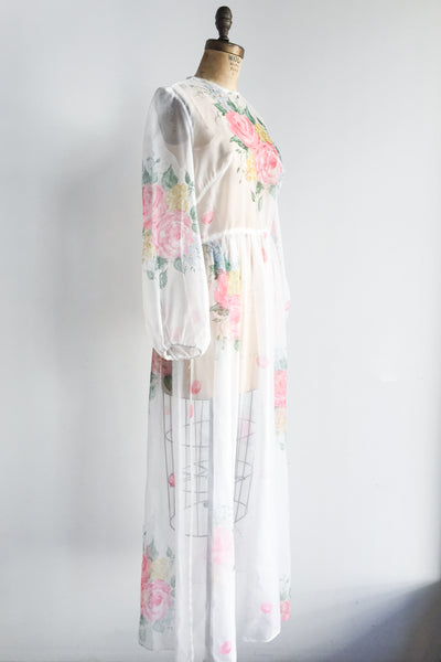 1970s Sheer Poet Sleeve Gown - M