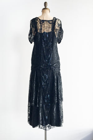 1920s Silk Lace and Cobalt Beaded Flapper Dress - M