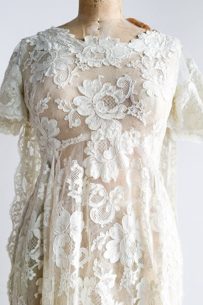 1960s Sheer Lace Dress with Train - XXS/XS