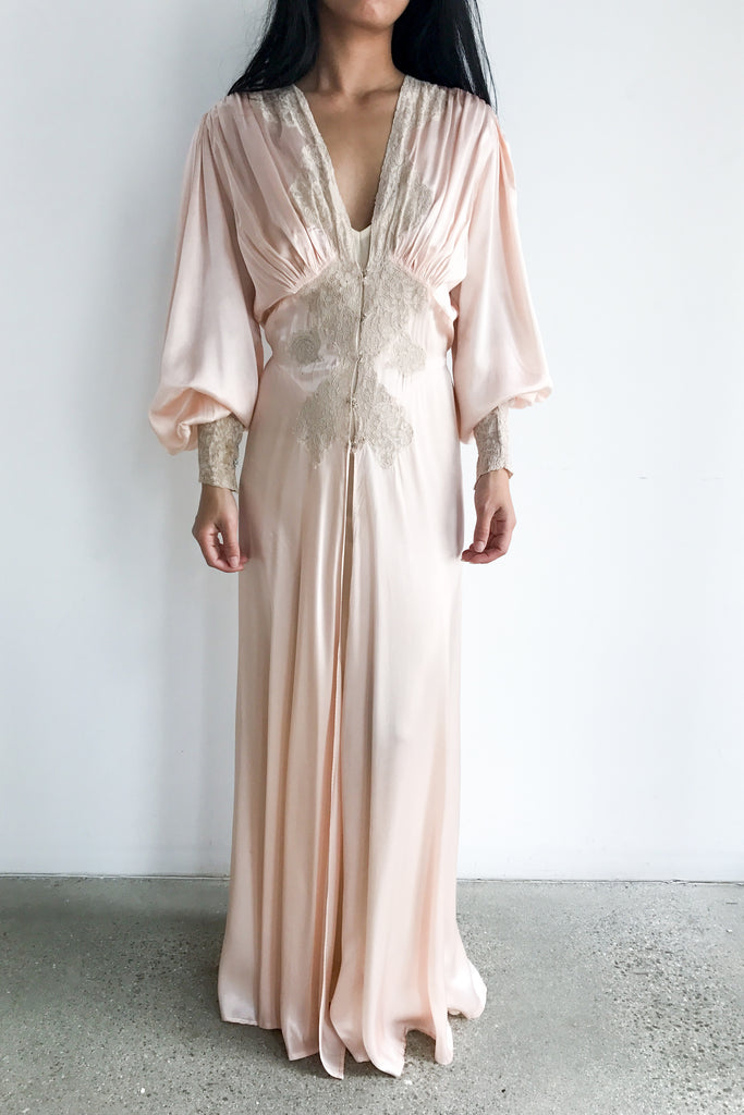 1930s Blush Pink Candlelight Satin And Lace Dressing Gown S