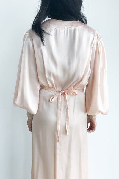 1930s Blush Pink Candlelight Satin and Lace Dressing Gown - S