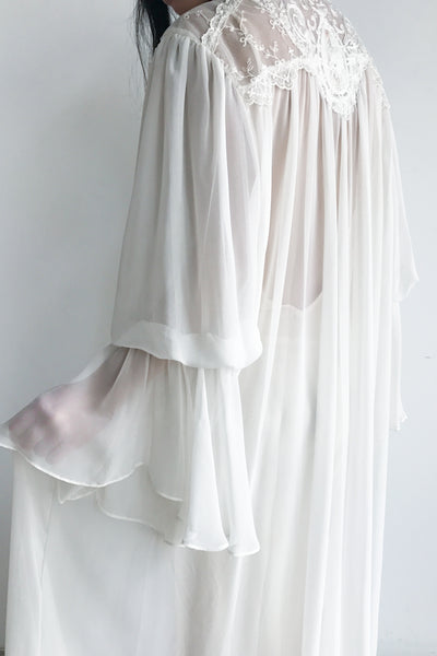 1980s Chiffon Puffed Bell Sleeves Dressing Gown - One Size