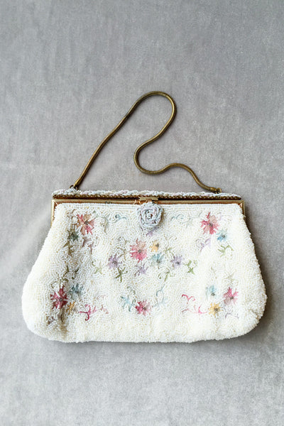 1950s Made in France Beaded Purse with Embroidery