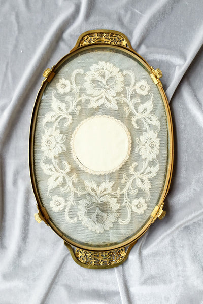 Oval Antique Glass Tray with Lace
