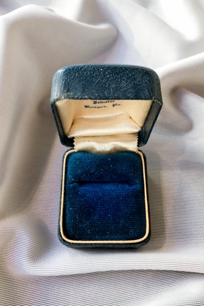 Antique Blue Leather Ringbox with Sapphire Velvet Lining