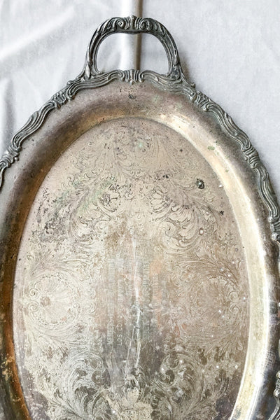 Antique Oval Metal Tray with Handles