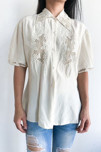 Vintage Ivory Embroidered Blouse - S
