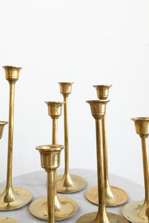 9 Vintage Brass Candle Stickholders with Pre-Burned Candles