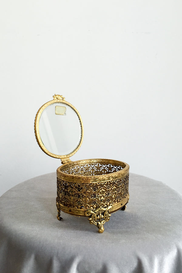 Vintage Gold Brass Trinket Box