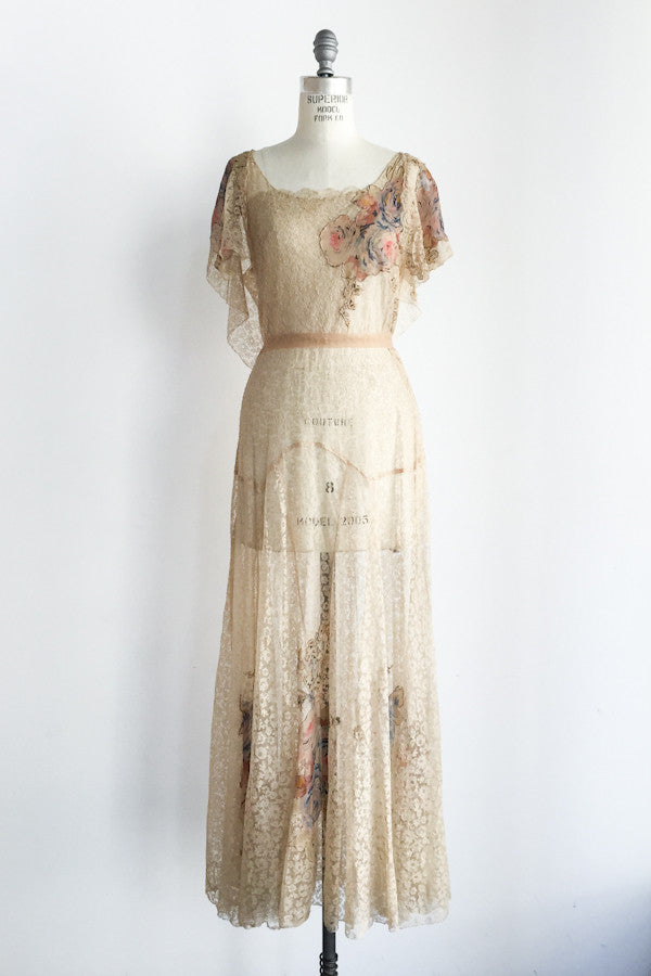 1930s Silk Lace and Silk Chiffon Gown - S/M ...