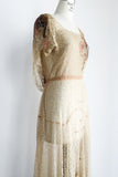 1930s Silk Lace and Silk Chiffon Gown - S/M