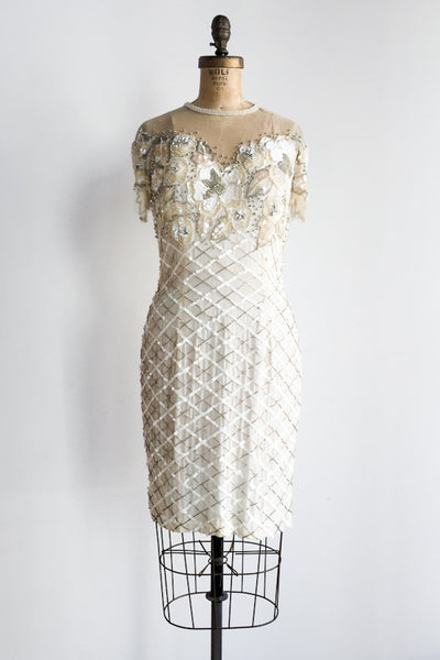 1980s Illusion Neck Silk Beaded Dress - M