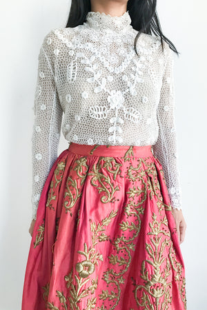 Antique Turkish Embroidered Skirt Remade in the 1950s - S/M