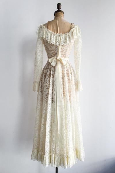 1970s Lace Off the Shoulder Dress - S