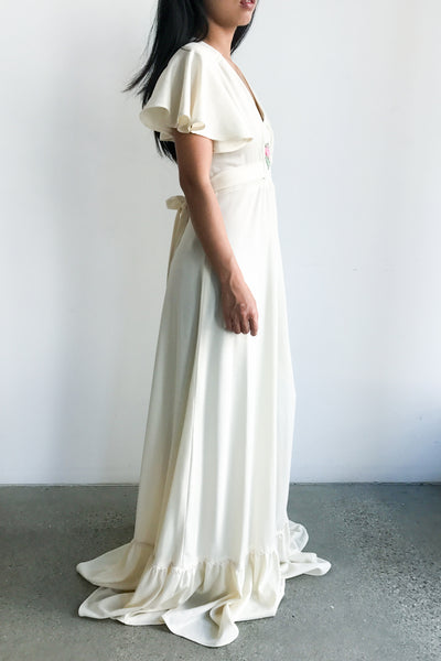 1970s Ivory Poly Flutter Sleeves Maxi Dress - S