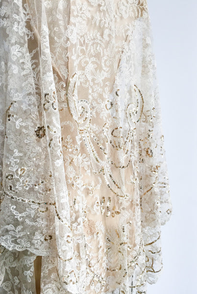Antique Sequined Lace Shawl - One Size