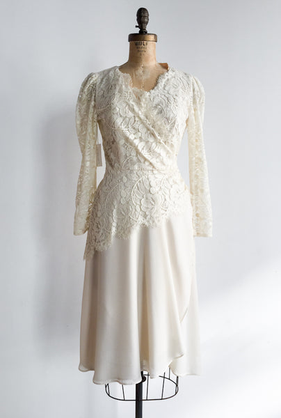 1980s Chiffon and lace Wrap Dress - S/M