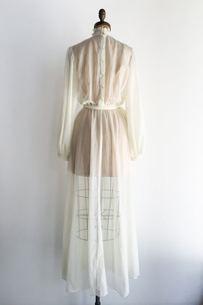 1970s Sheer Pintucked High-Neck Gown - S/M