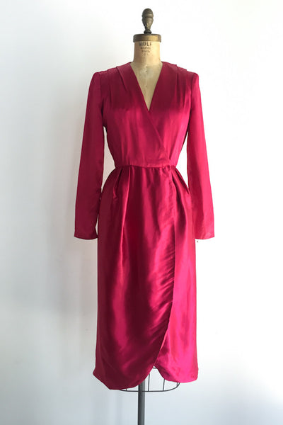 1980s Ruby Red Satin Wrap Dress - S