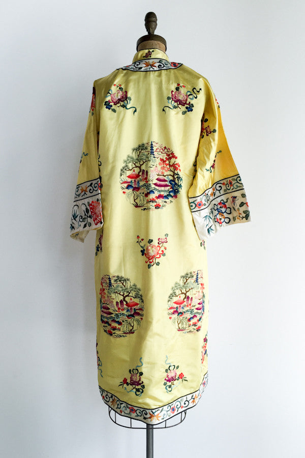 Vintage Canary Yellow Silk Embroidered Robe - M