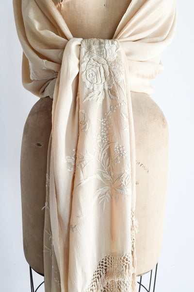 1920s Raw Silk Embroidered Scarf/Shawl