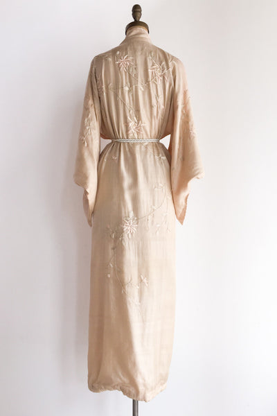 Antique Light Pink Silk Embroidered Kimono Robe - One Size
