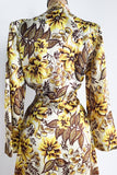 1980s Yellow Print Satin Wrap Dress/Duster - S