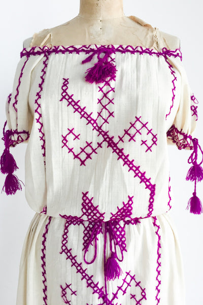 1970s Gauze Linen Embroidered Drawstring Dress - L