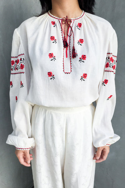 1970s Cotton Embroidered Top - M