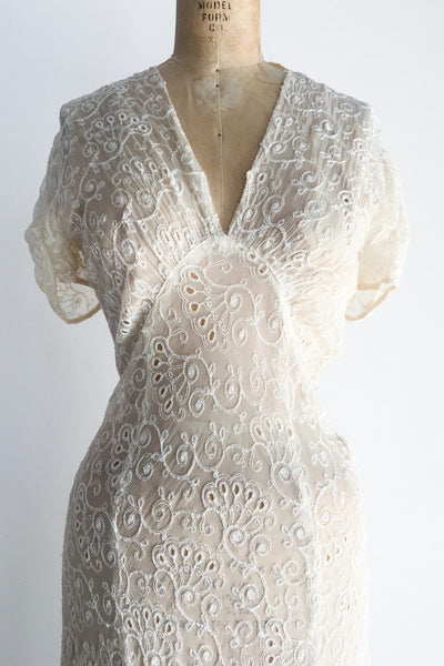 1940s Silk Net Eyelet Embroidered Gown - S
