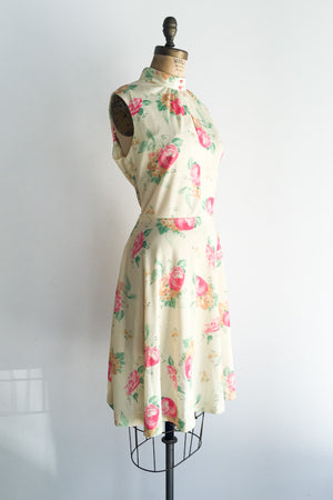1960s Light Yellow Poly Printed Dress - L
